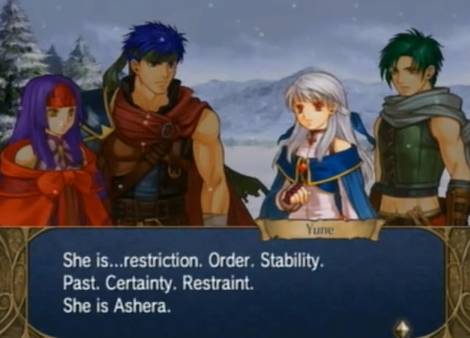 Fire Emblem Radiant Dawn Ashera description Order Stability Past Certainty Restraint restriction