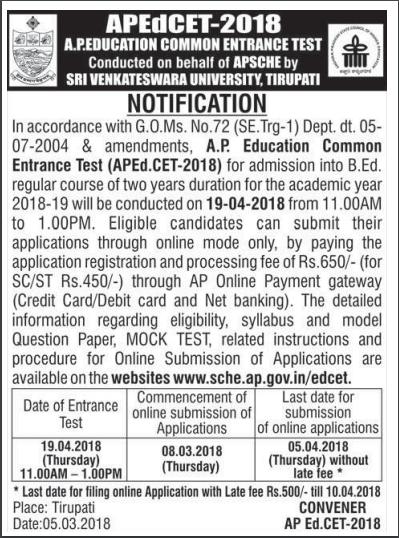AP Edcet notification 2018-2019, apply online, exam date