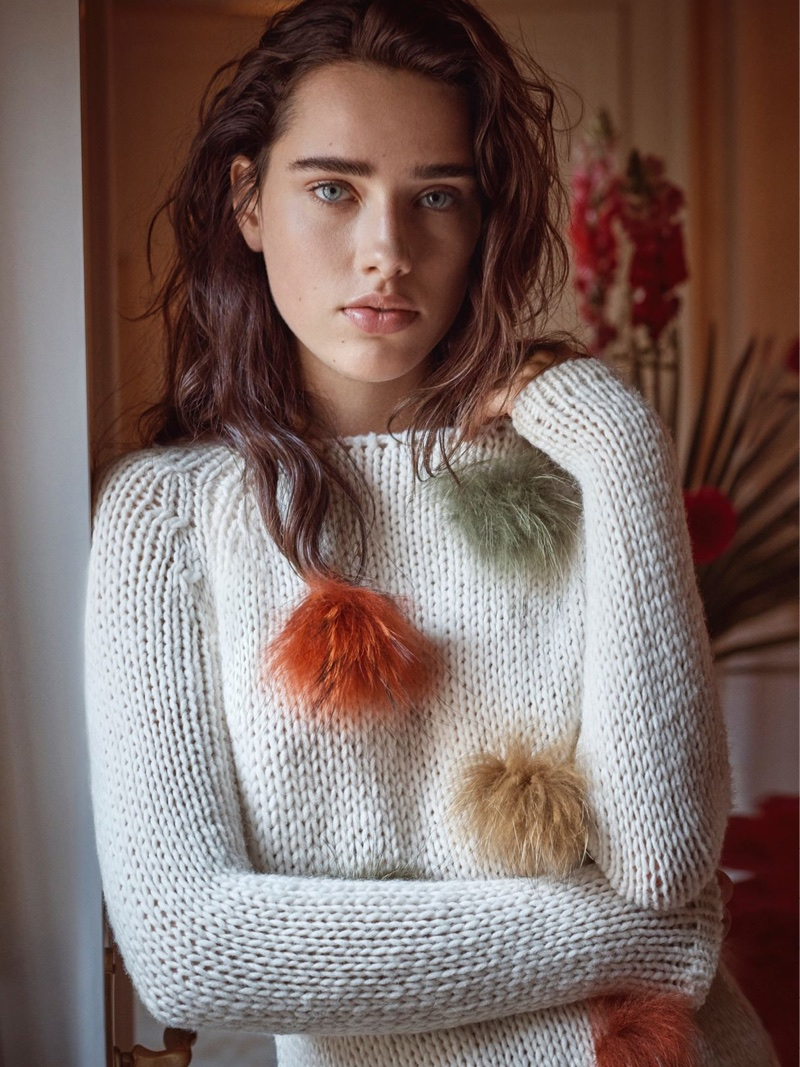 Robin Van Halteren wears fuzzy sweater in Blugirl's fall-winter 2017 campaign