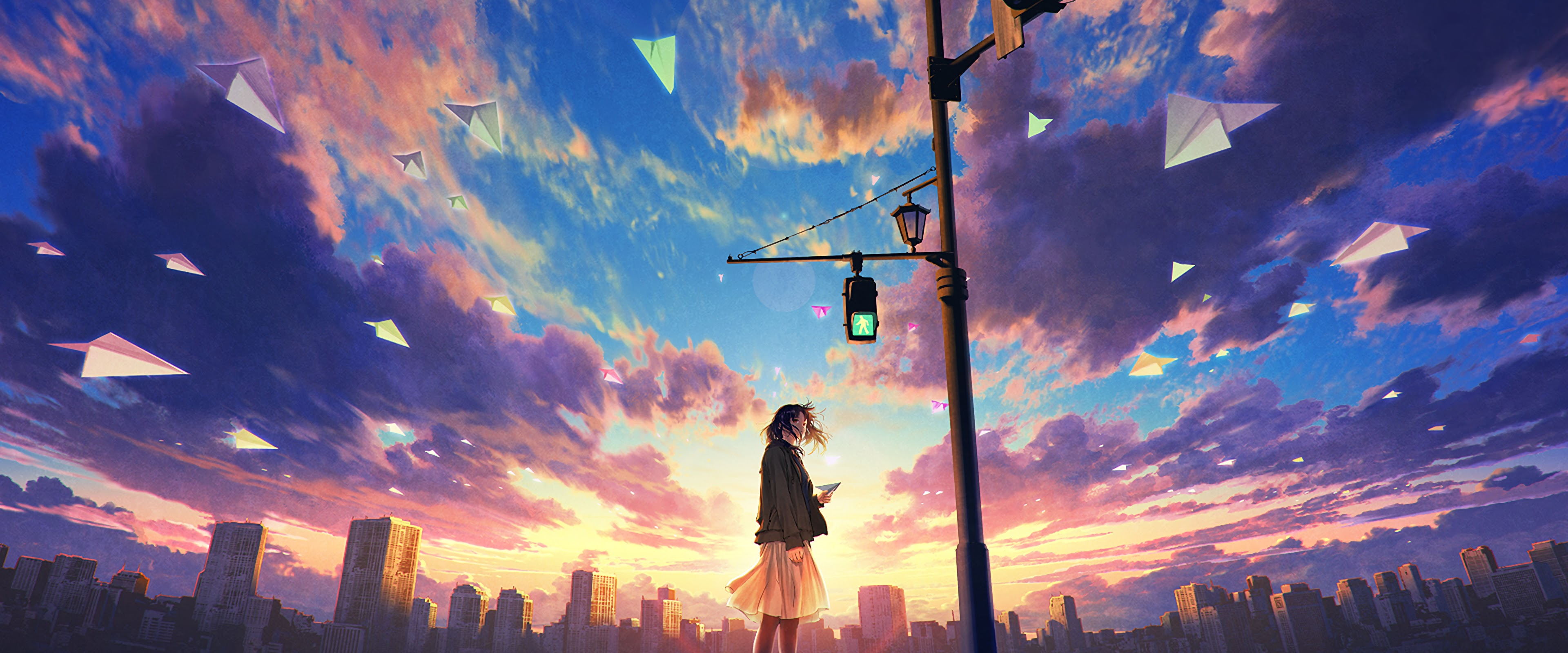 Anime Girl Sky Clouds Sunrise Scenery 4k Wallpaper 67
