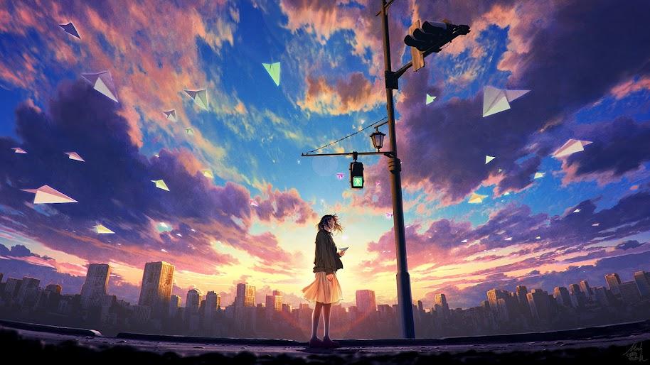 Anime Girl Sky Clouds Sunrise Scenery 4k Wallpaper 67