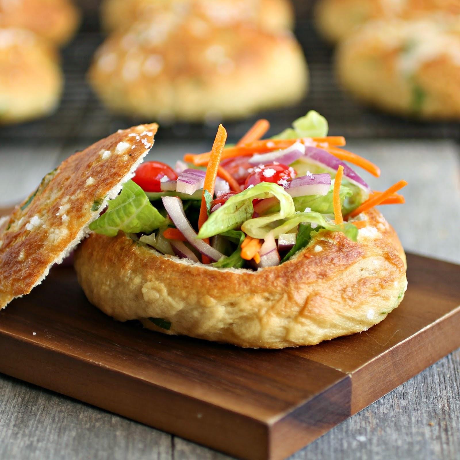 Herbed Salted Pretzel Bread Salad Bowls
