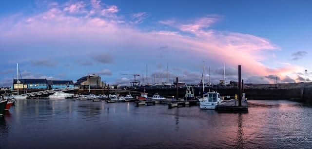 Photo of sunset over Maryport Marina on Saturday