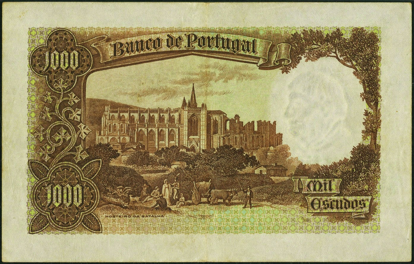 Portugal money currency 1000 Escudos banknote 1938 Monastery of Batalha