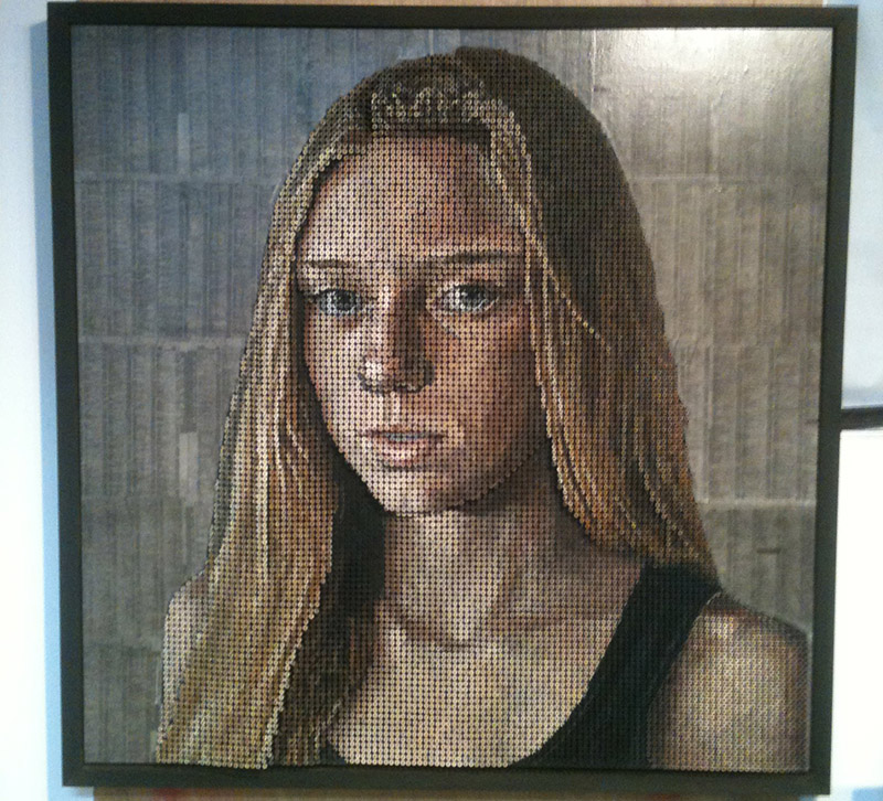 portrait made with painted screws