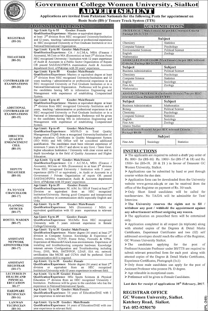 Jobs in Punjab GC Women University