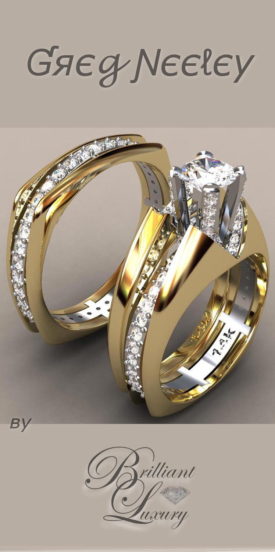 Brilliant Luxury ♦ Greg Neeley split shank top v princess wedding set