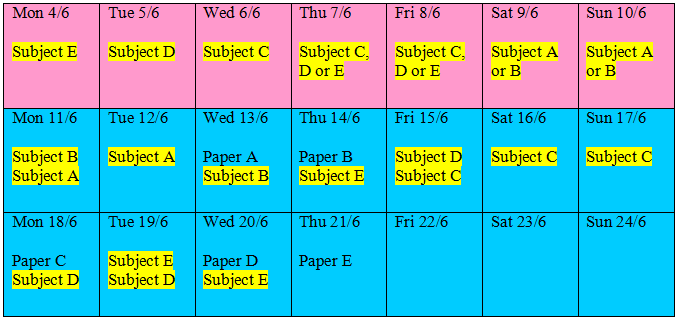 how to prepare a study timetable for exams
