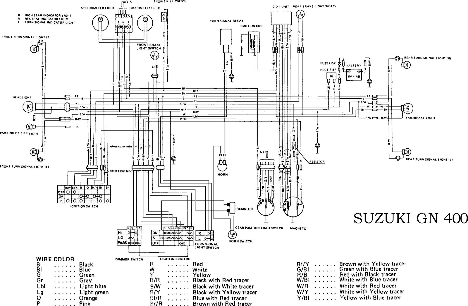 Suzuki GN400 motorcycle Complete Electrical Wiring Diagram