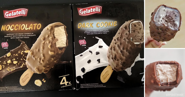 Gelatelli nocciolato dark cookie ice cream bars sticks chocolate hazelnut crunchy