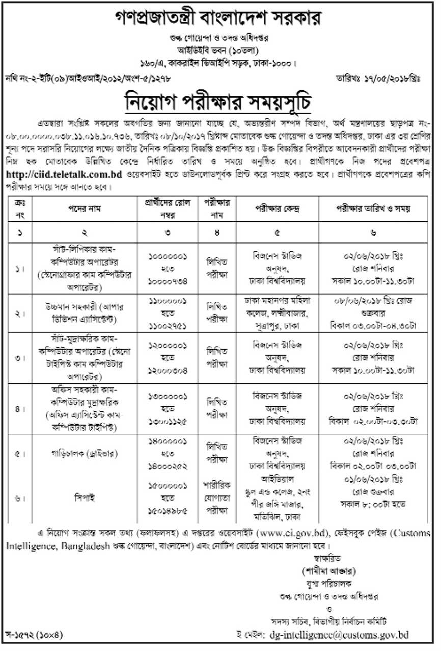 Customs Intelligence & Investigation Directorate (CIID) Job Seat Plan and Exam Center
