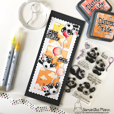 Big Birthday Wishes Card by Samantha Mann for Newton's Nook Designs, Pandas, Slimline, Cards, Handmade Cards, Distress Oxide Inks, Ink Blending, Stencil, Embossing Paste, #newtonsnook #slimline #cards #birthday #panda #distressoxide #inkblending #stencil