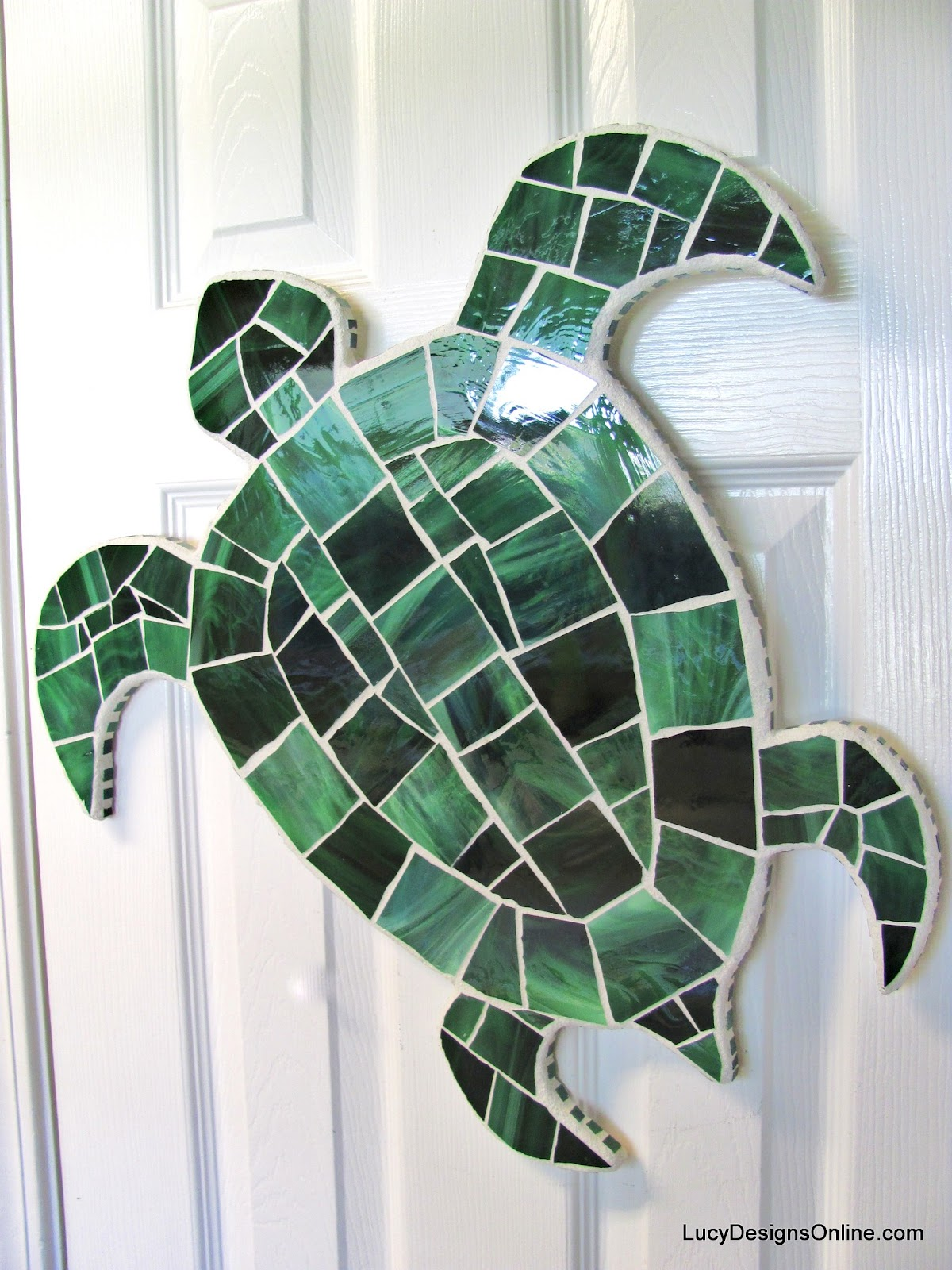 large stained glass sea turtle art