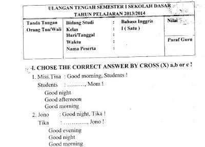 Contoh Soal Uts Bahasa Inggris Kelas 1 Semester 1 Kurikulum 2013 Terbaru 2017 Kumpulan Soal Un