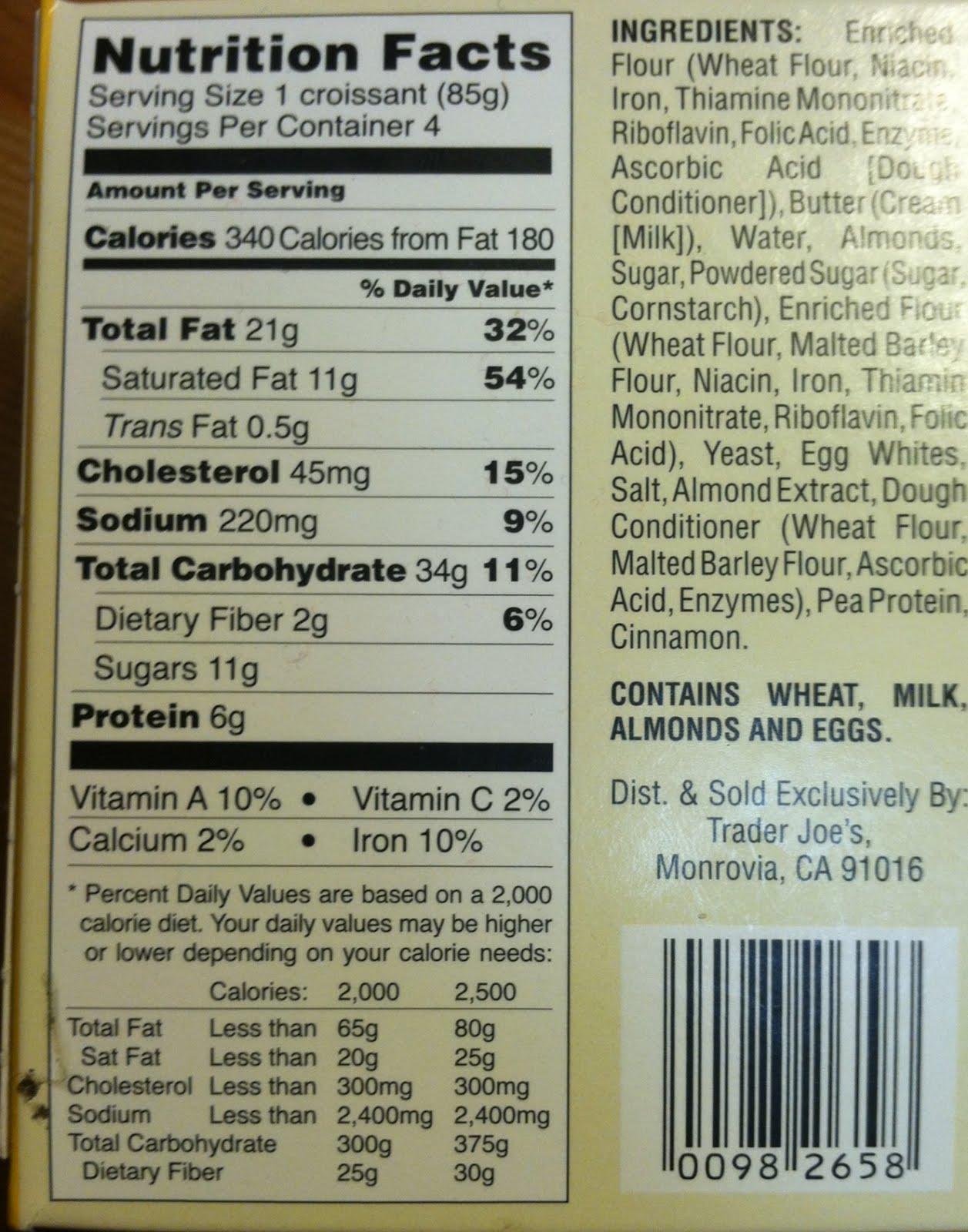 Trader Joe's 4 Almond Croissants calories nutrition