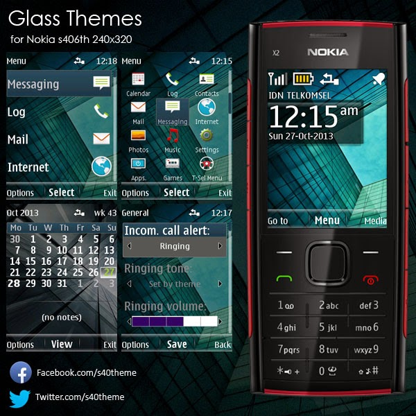 Glass theme Nokia s406th 240x320 x2-00 x2-02 x2-05