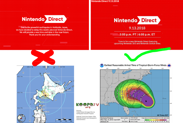 Nintendo Direct September 6 13 2018 natural disaster delay Hokkaido Earthquake Hurricane Florence hypocrisy