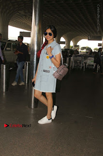 Bollywood Actress Model Adah Sharma Spotted at the Airport in a Denim Dress  0005.jpg