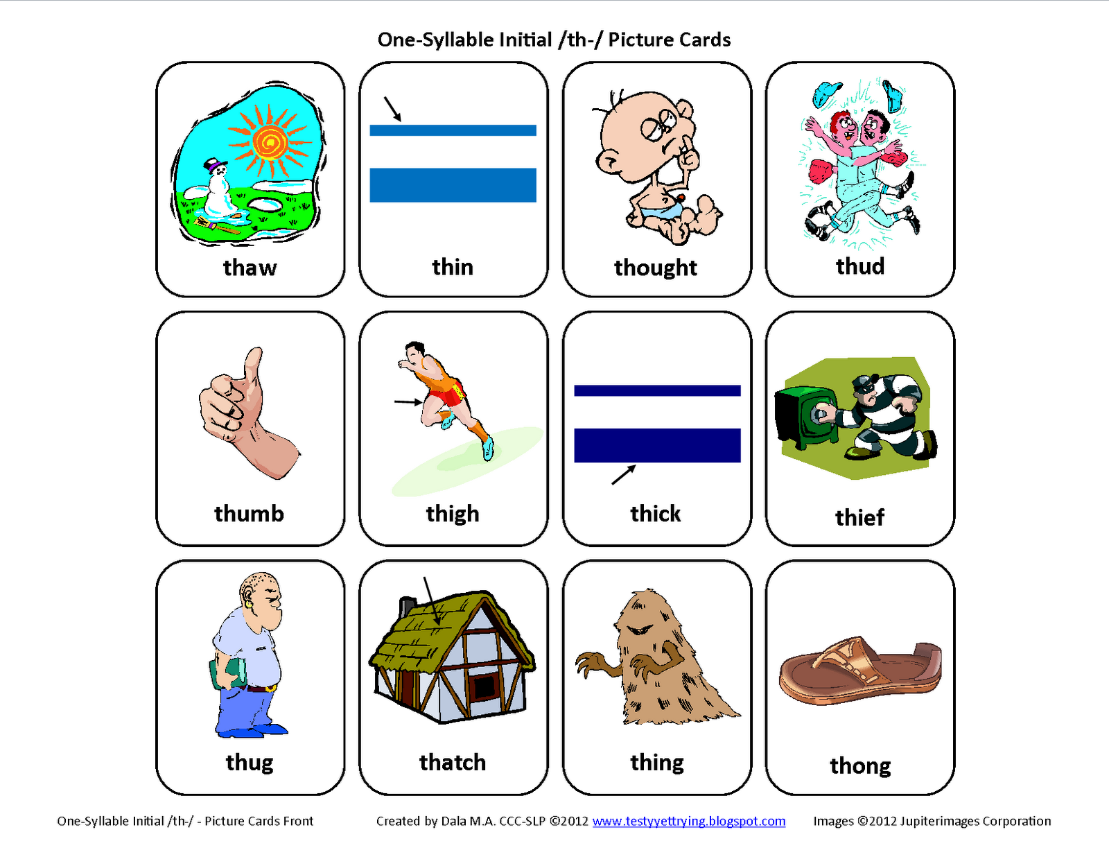 Testy Yet Trying Initial Th Voiceless Free Speech Therapy Articulation Picture Cards