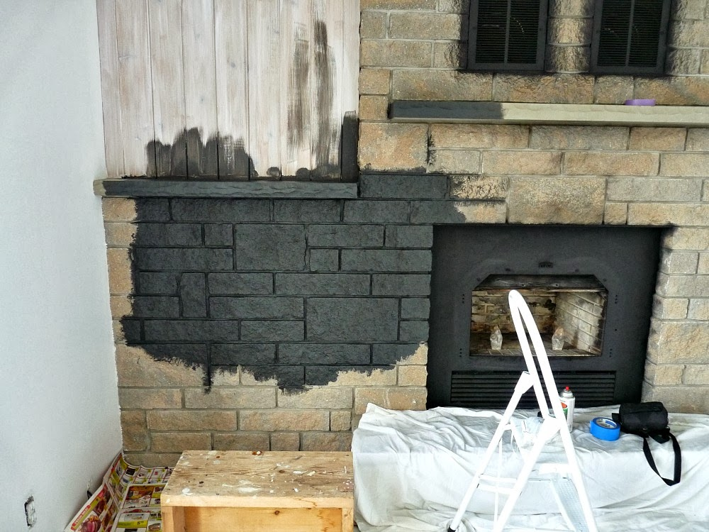 How to easily paint a stone fireplace charcoal grey for Gray stone paint color