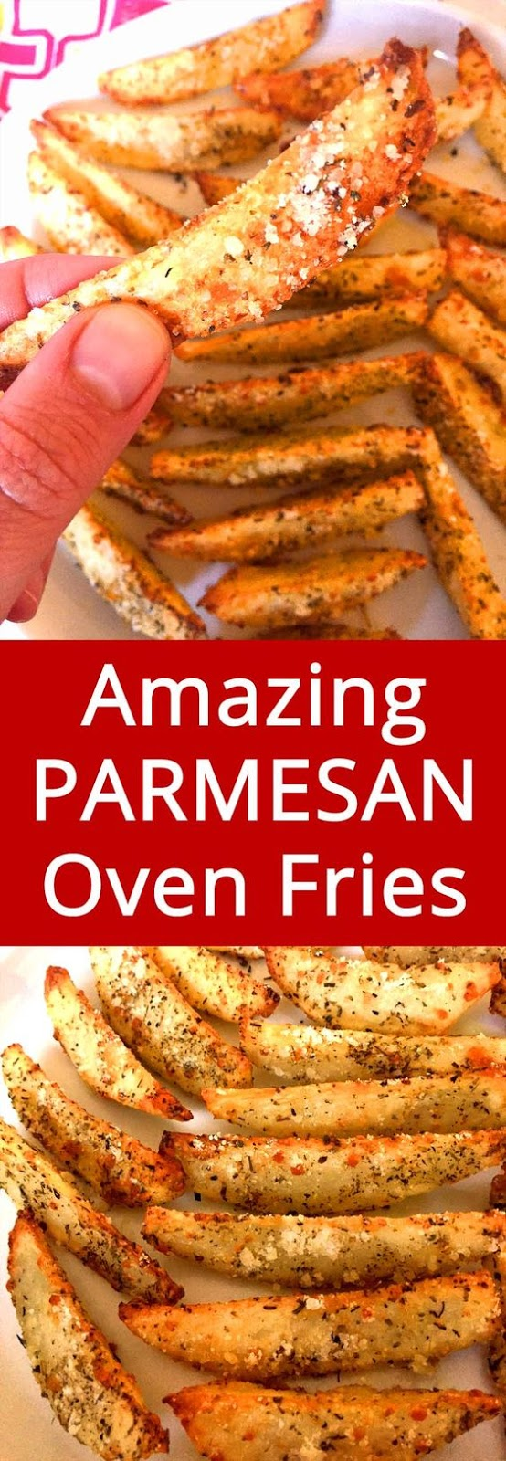 Healthy fries is not an oxymoron! These BAKED garlic Parmesan potato fries are so delicious, this recipe almost seems too good to be true! You don't have to FRY the fries to make them crispy and yummy.  In fact, I don't even own a deep fryer – the oven can do an amazing job browning and crisping the fries if you use the right technique!