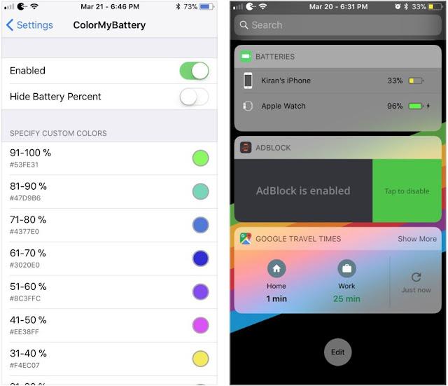 ColorMyBattery-tweak New useful tweaks for the ios 11 Apple