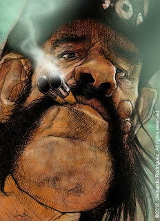 caricature of a man smoking
