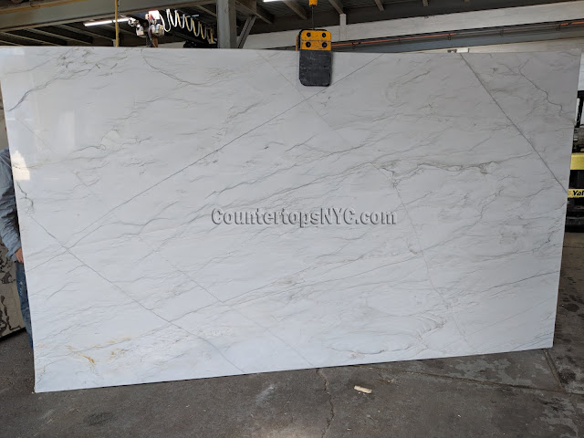 Calacatta quartzite slabs for kitchen countertop NYC