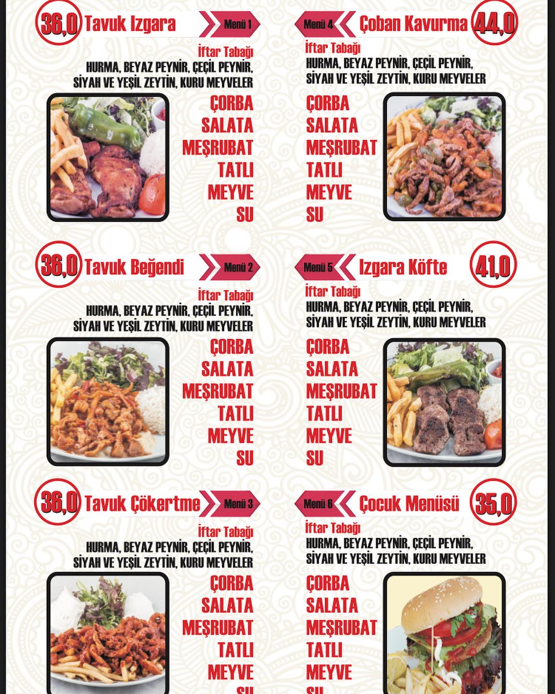 bahçem kafe hamamönü ankara iftar menu