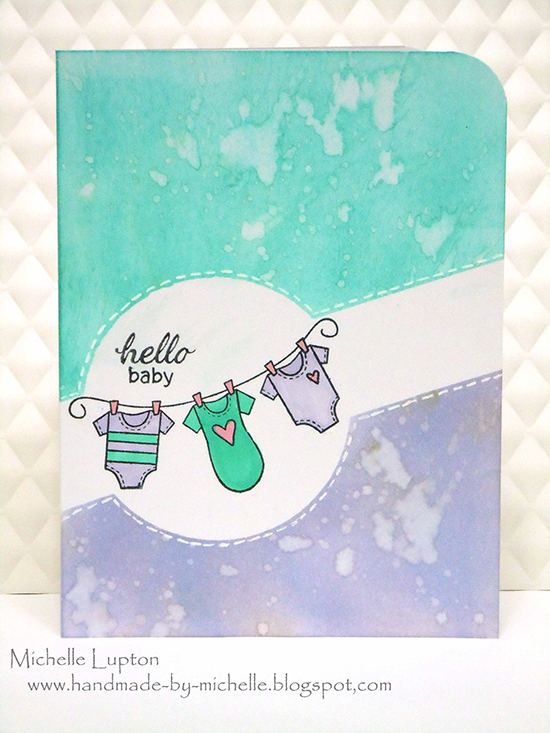 Hello baby card by Michelle Lupton using Winged Wishes Stamp - Newton's Nook Designs