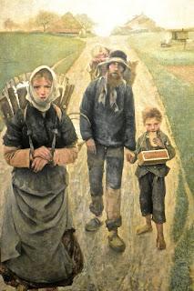 Bruxelles  Musée Fin du siècle: Léon frederic : Les marchands de craie : le soir  triptyque du marchan d de craie