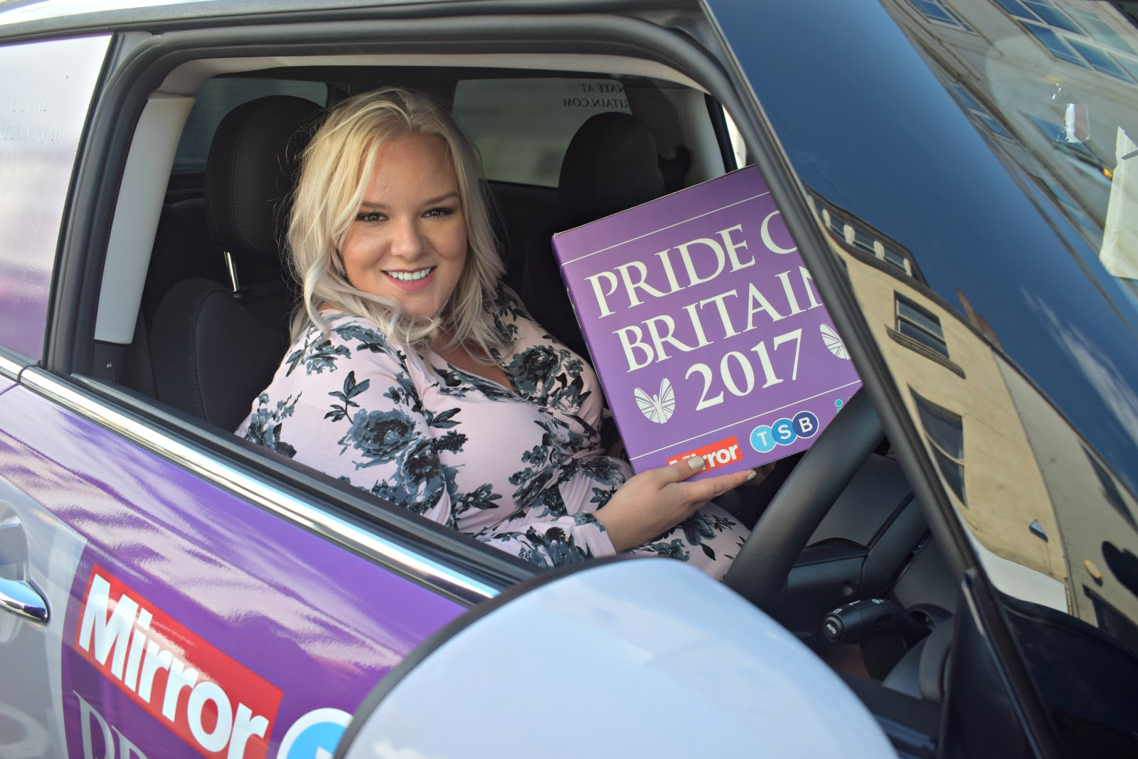UK Blogger WhatLauraLoves promoting the TSB Pride Of Britain Awards 2017 in Newcastle in a Mini Cooper