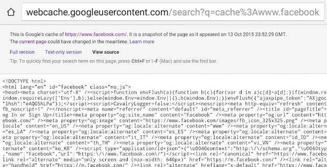 View Source Using Google Webcache