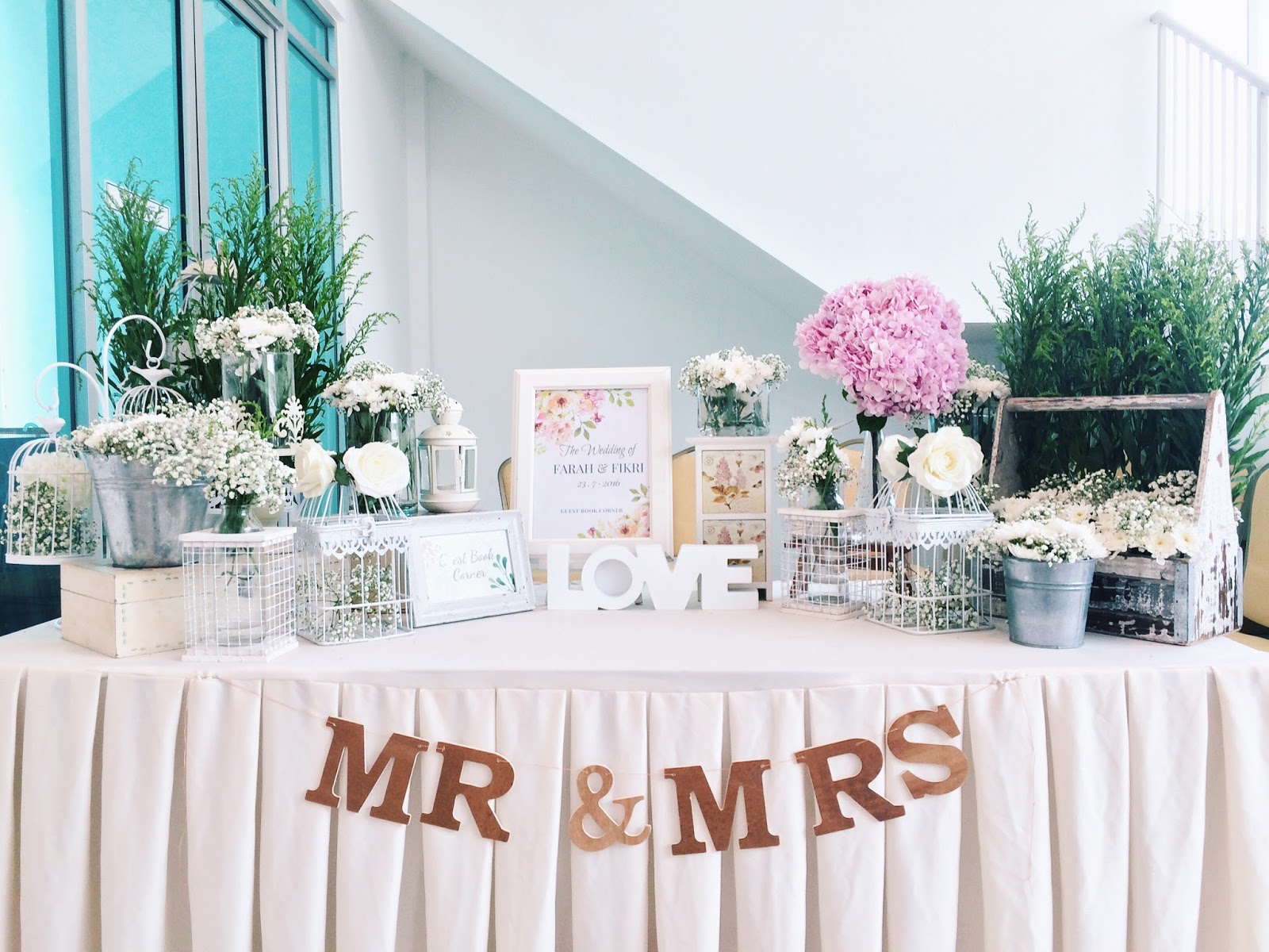 Ideasbyfarah: WEDDING GUEST BOOK TABLE DECOR GARDEN THEME MALAYSIA