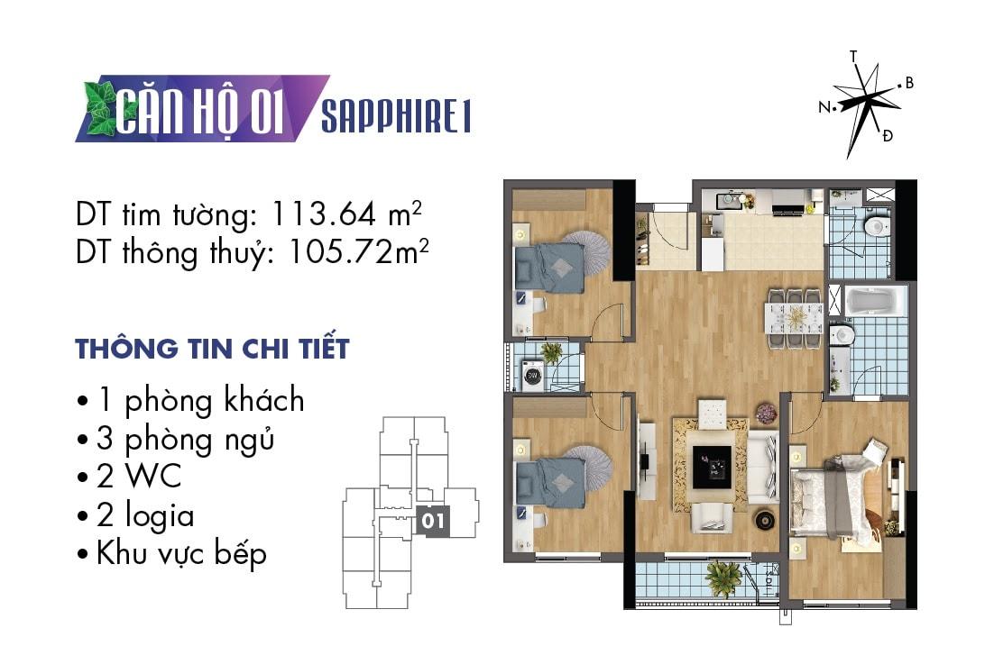 Mặt bằng căn hộ 01 tòa Sapphire 1