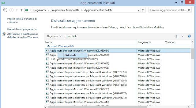 Disinstallare aggiornamenti Windows da Programmi e funzionalità