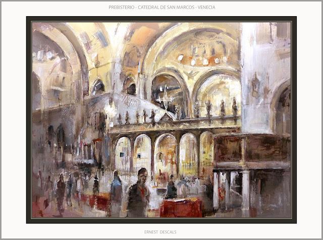 VENECIA-PINTURA-CATEDRAL-SAN MARCOS-PRESBITERIO-INTERIOR-PINTURAS-PAISAJES-ITALIA-ARTISTA-PINTOR-ERNEST DESCALS-
