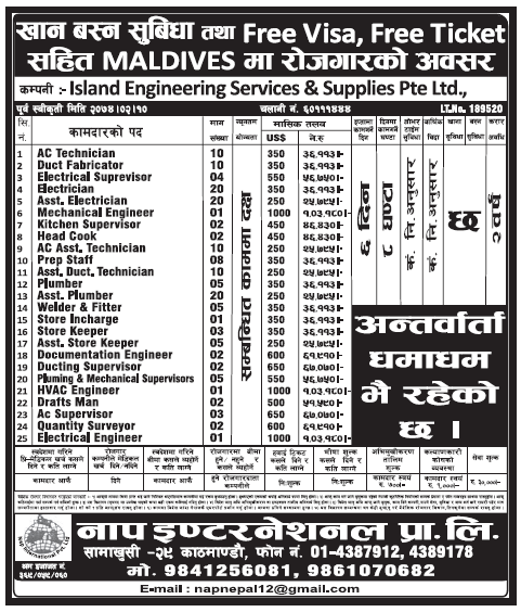 Free Visa Free Ticket Jobs in Maldives for Nepali, Salary Rs 1,03,180