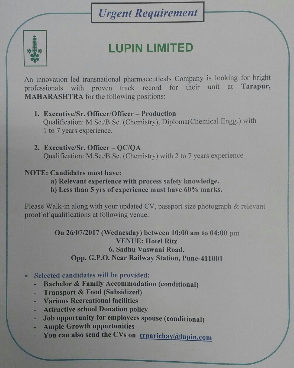 Lupin Walk in Interview 2018, Lupin Pharma Recruitment, Jobs LATEST