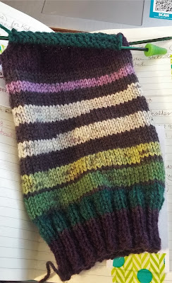 striped sock knit from Patons Kroy Socks in the Brambles colorway