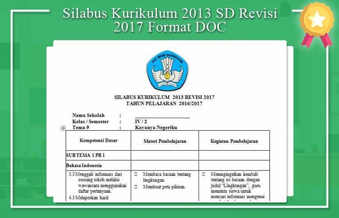 Silabus Kurikulum 2013 SD Revisi 2017 Format DOC
