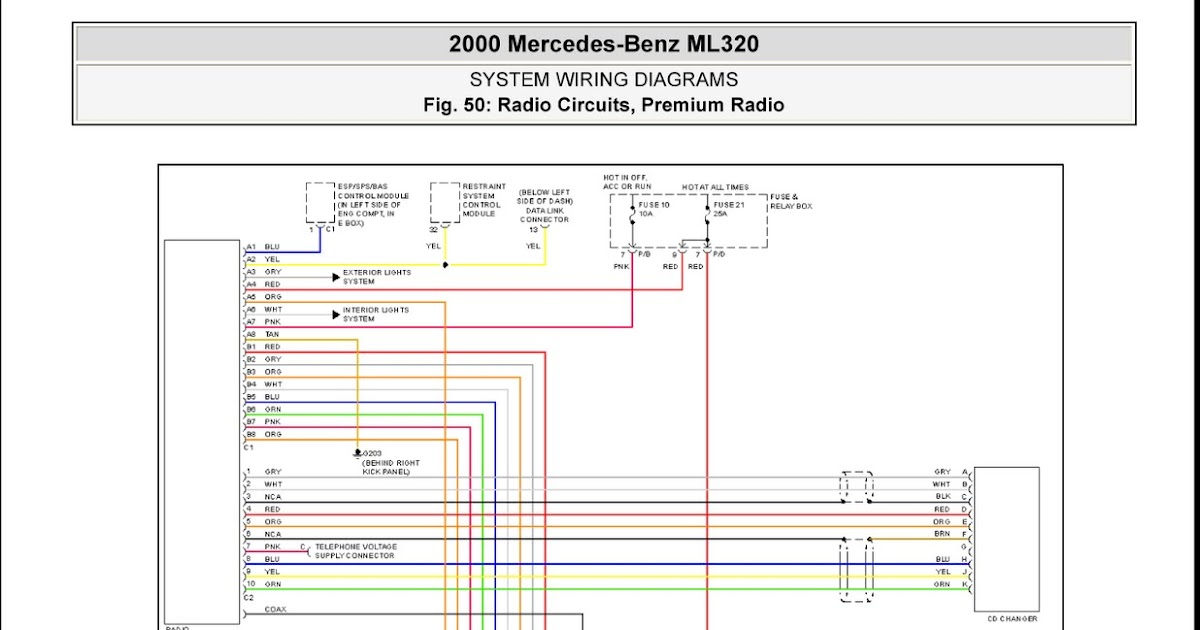 2000 mercedes-benz ml320 system wiring diagrams radio ... diagram mercedes connection 320wire phone socket wiring diagram telstra connection lead in cable #4