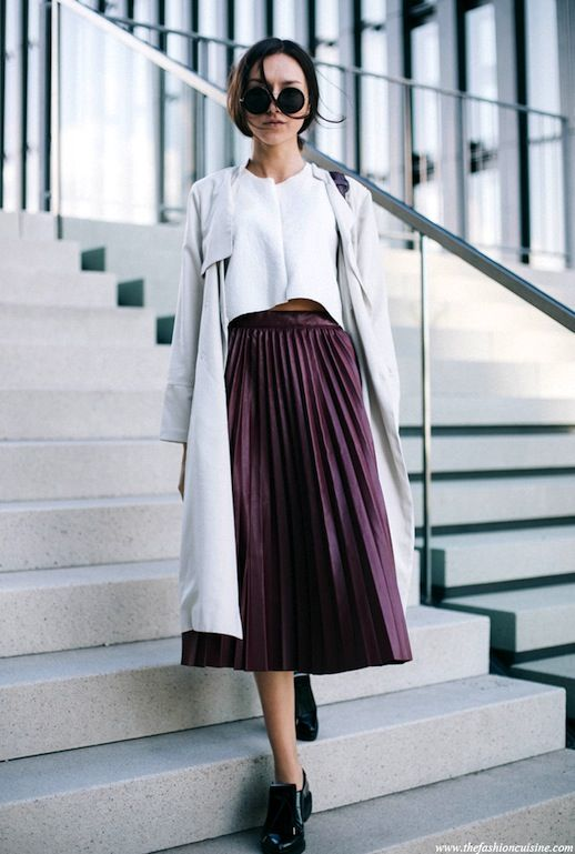 Street style inspiration, Fashion blogger, Pleated Skirt
