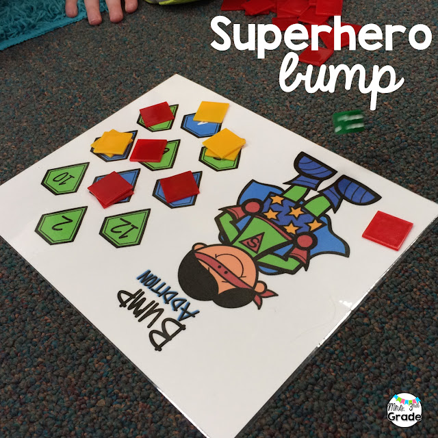 Bump games are a great way for students to practice their multiplication facts.  Adding a superhero to them makes it even more engaging!