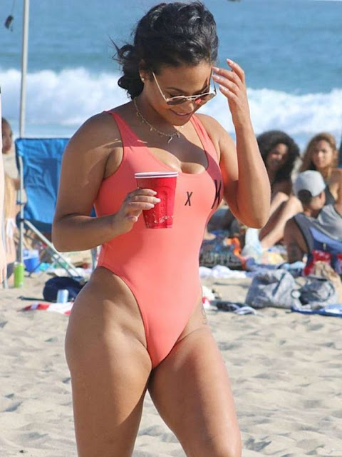 Christina Milian in Swimsuit at a beach in Malibu