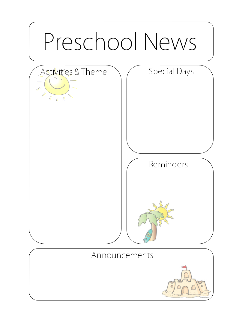 summernewsletter October Day Care Newsletter Templates on free downloadable preschool, printable downloadable,