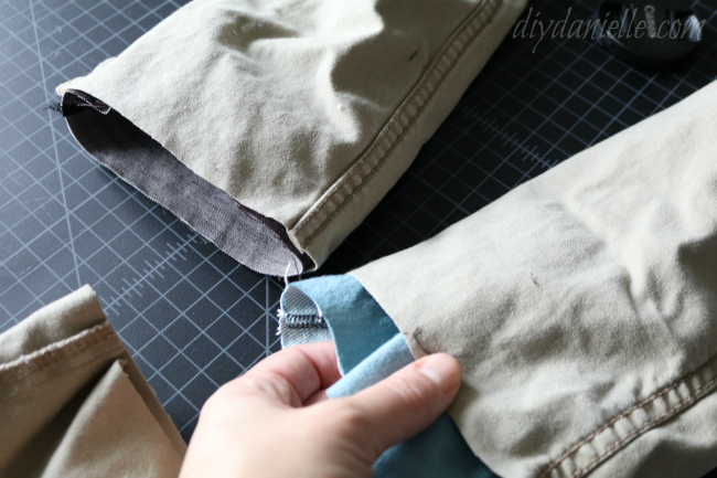 Insert your patch right sides out into the pants (which should be wrong sides out).