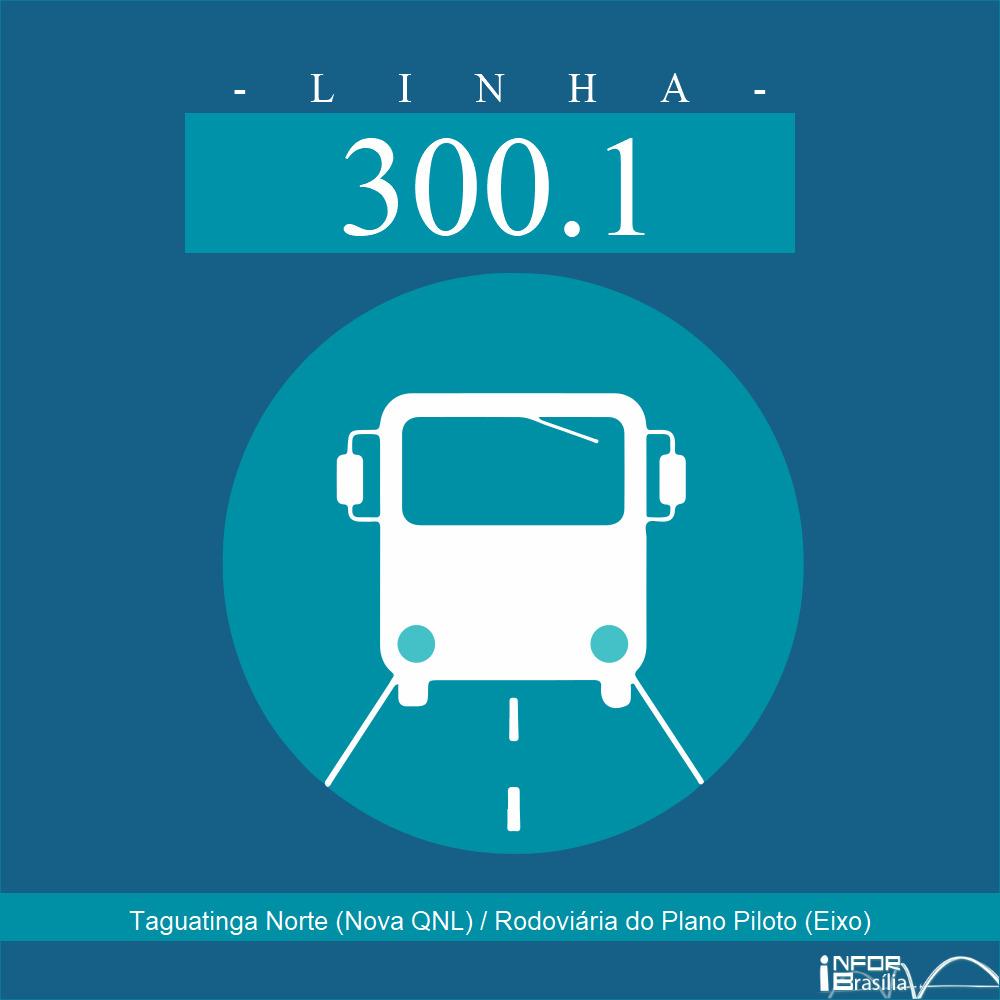 Horário de ônibus e itinerário 300.1 - Taguatinga Norte (Nova QNL) / Rodoviária do Plano Piloto (Eixo)
