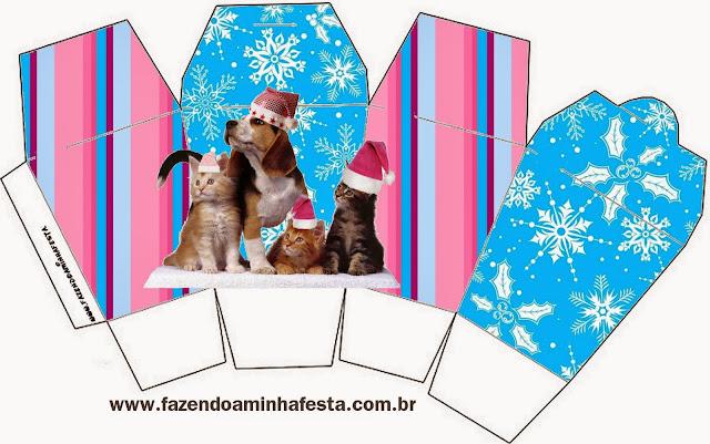 """Caja tipo """"de comida china""""de Perro y Gato en Navidad."""