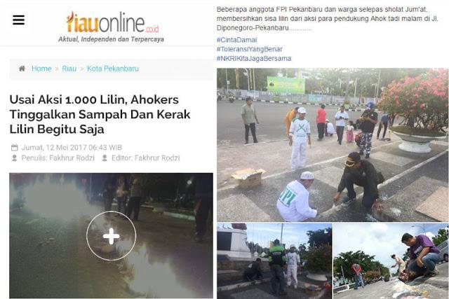 Aksi 1000 Lilin Ahokers Tinggalkan Sampah dan Kerak Lilin, Laskar FPI yang Bersihkan